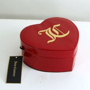 NWT Juicy Couture Heart Jewelry Box Glitter Red